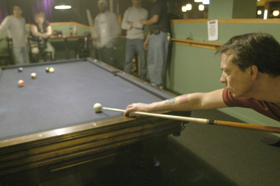 Playing pool at Morseland restaurant and bar