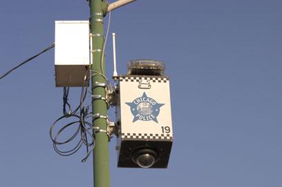A police surveillance camera on Morse Avenue